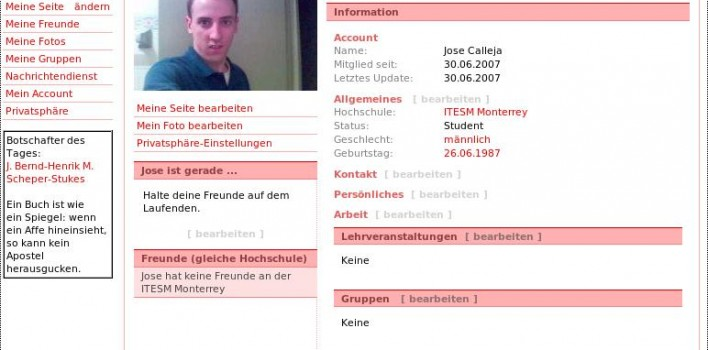 Studiverzeichnis clon de Facebook para Alemania