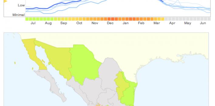 Mapa del contagio de influenza en tiempo real