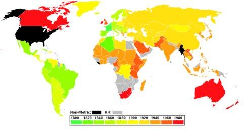Países que no han adoptado el Sistema Internacional