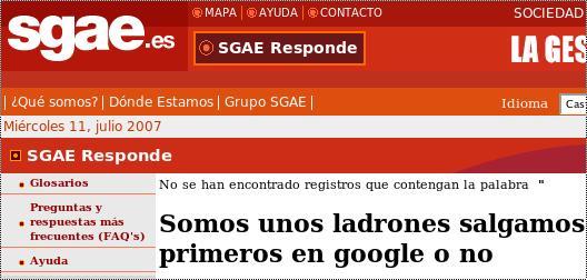<del>Hackean</del> Trucan página de la SGAE