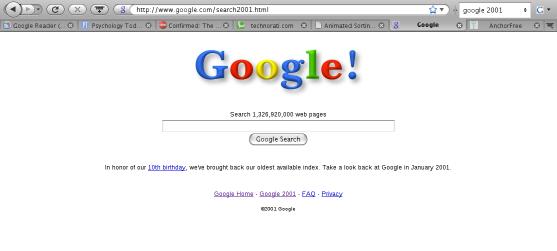 Buscando en Google en el  2001